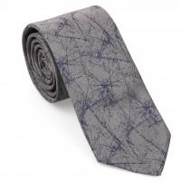Mavi-Gri Geometrik Desen Mendilli Kravat-Brianze MKAP-4