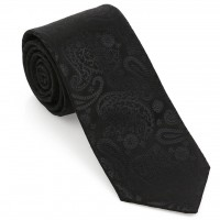 Siyah Şal Desen Mendilli Kravat-Brianze MKAO-9